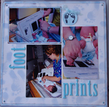 baby footprint stamp scrapbook page