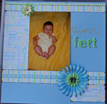 baby footprint charm scrapbook page